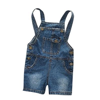 Boy's Little Kids Denim Short Suspender Jeans Cute Mini Jumpsuit in Dark Blue
