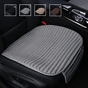 Suninbox Car Seat Cushion,Gray Car Seat Covers,Buckwheat Hulls Car Seat Pads Mat for Auto,Universal Bottom Driver Car Seat Protector Ventilated Breathable Comfortable,Gray Front Seat