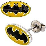 DC Comics Womens Batman Logo Stud Earrings (Black & Yellow)