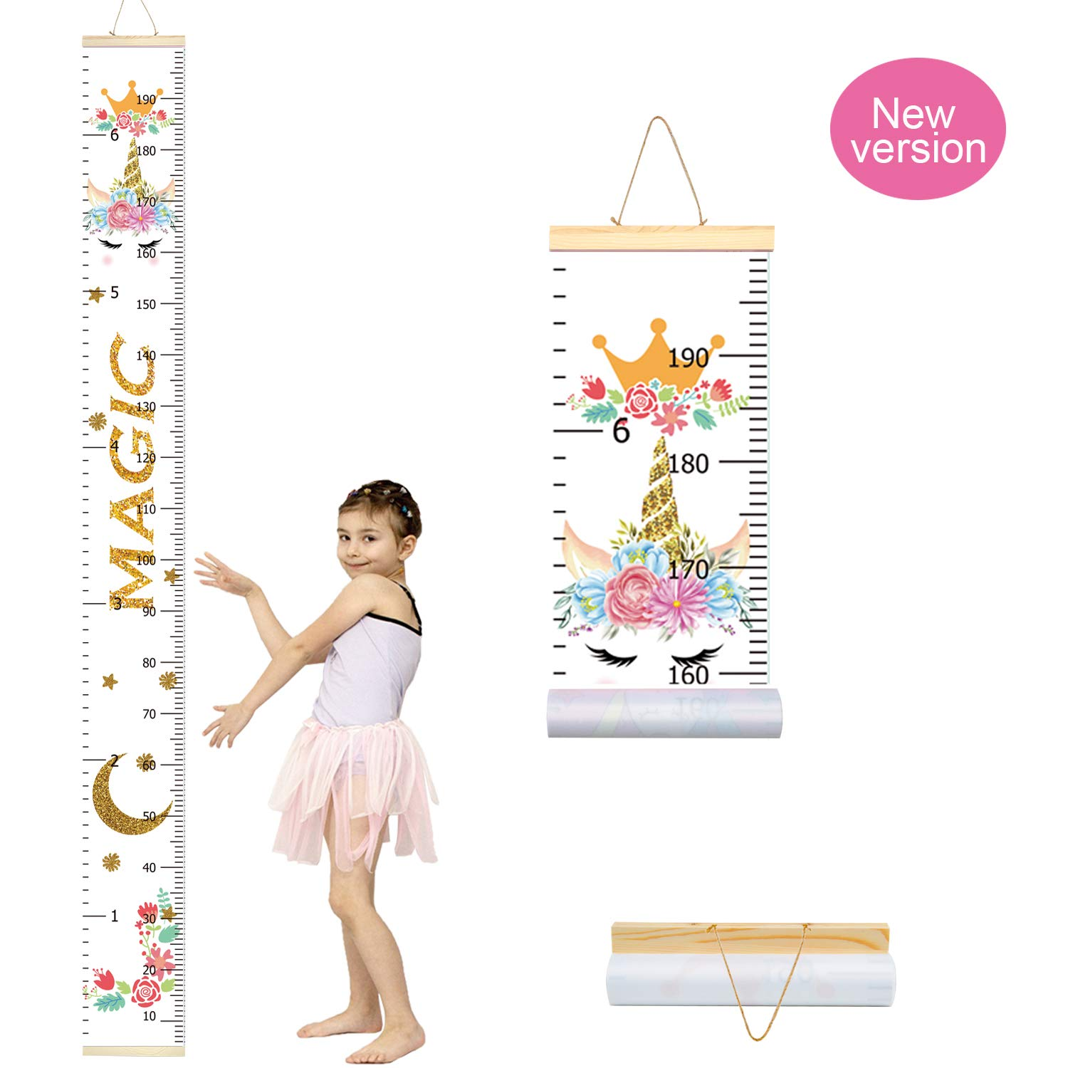 Beinou Baby Growth Chart Ruler for Kids Wood Frame Height Measure Chart 7.9 x 79 Canvas Pink Flower Hanging Height Growth Chart for Baby Nursery Decoration Baby Shower Gift