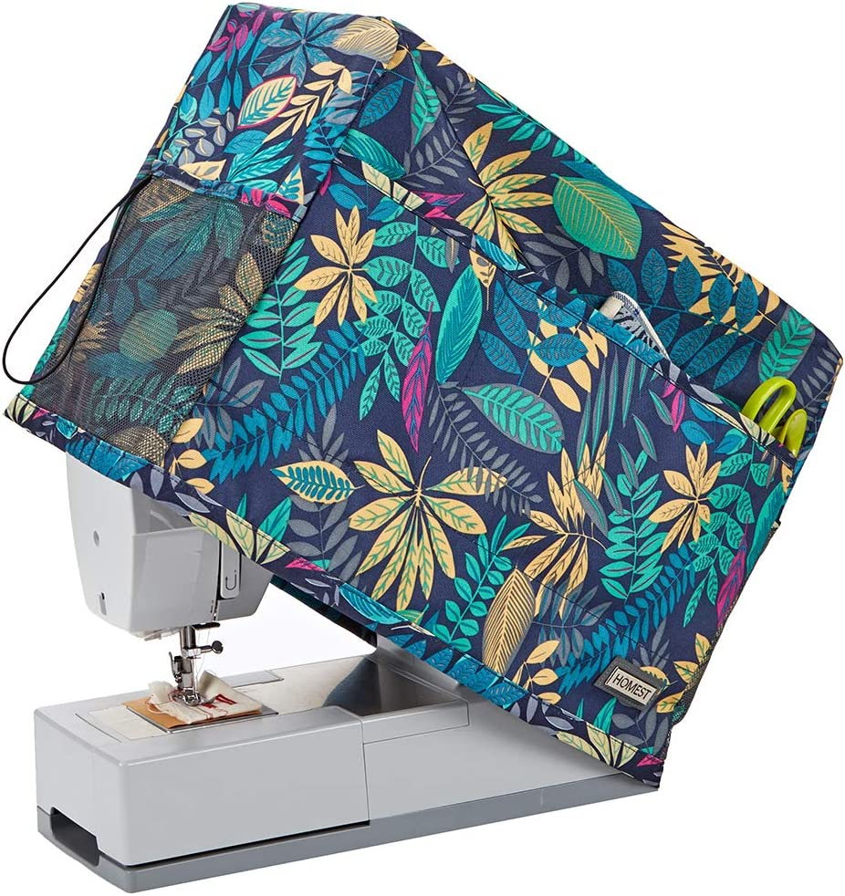 HOMEST Sewing Machine Dust Cover with Storage Pockets, Compatible with Most Standard Singer and Brother Machines, Floral (Patent Design)