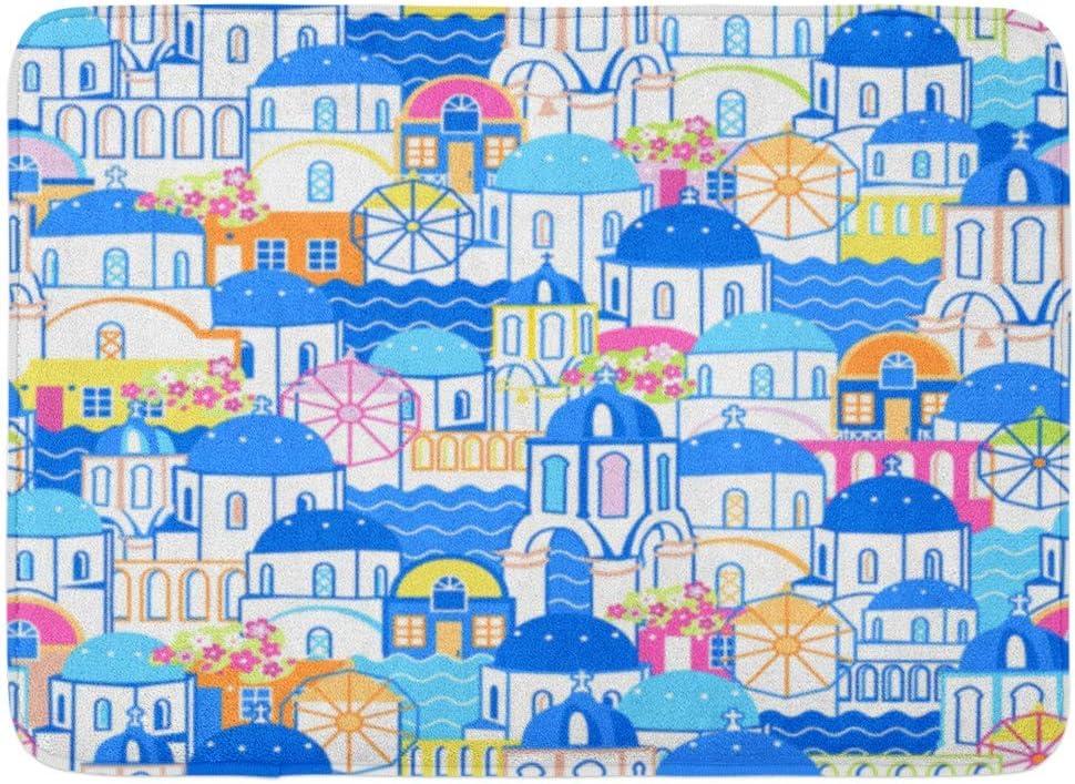 Zhengzho Alfombrillas Antideslizantes Patrón de Colores Paisaje Urbano de Santorini Pueblo Oia Grecia Planos y Dibujos Animados Lineas Azules de Cyclades Alfombras duraderas 40x60cm: Amazon.es: Hogar