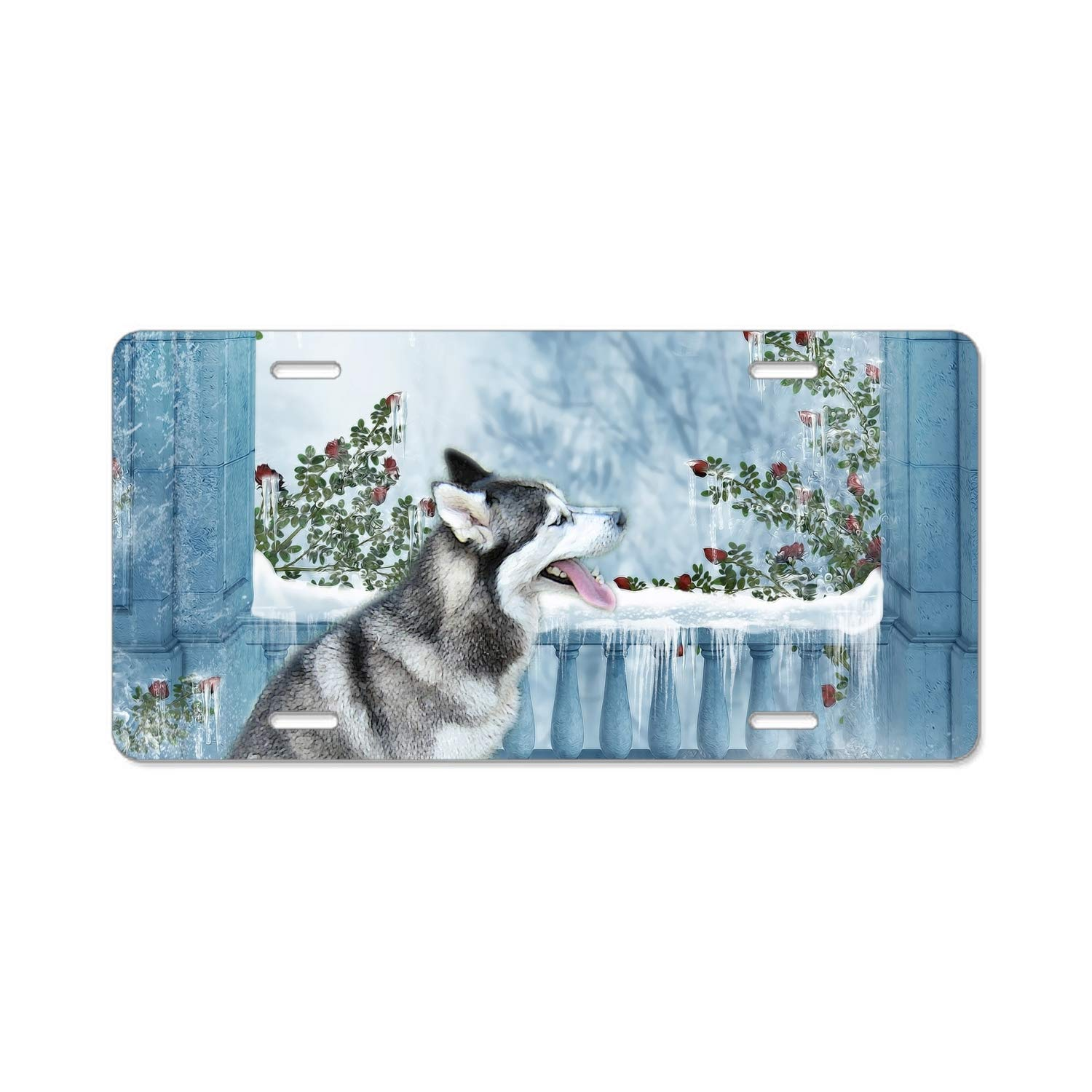 SFHU Personalized License Plate Frame Golden Retriever in Autumn License Plates Cover