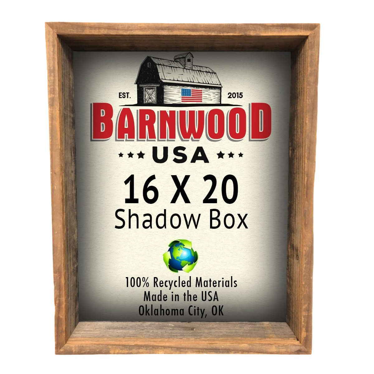 "BarnwoodUSA | Rustic Farmhouse Collectible Shadow Box Picture Frame | Made of 100% Reclaimed and Recycled Wood | Deep Shadow Box Style To Display Collectibles, Photos, Antiques | Made in USA | 16""x20"""