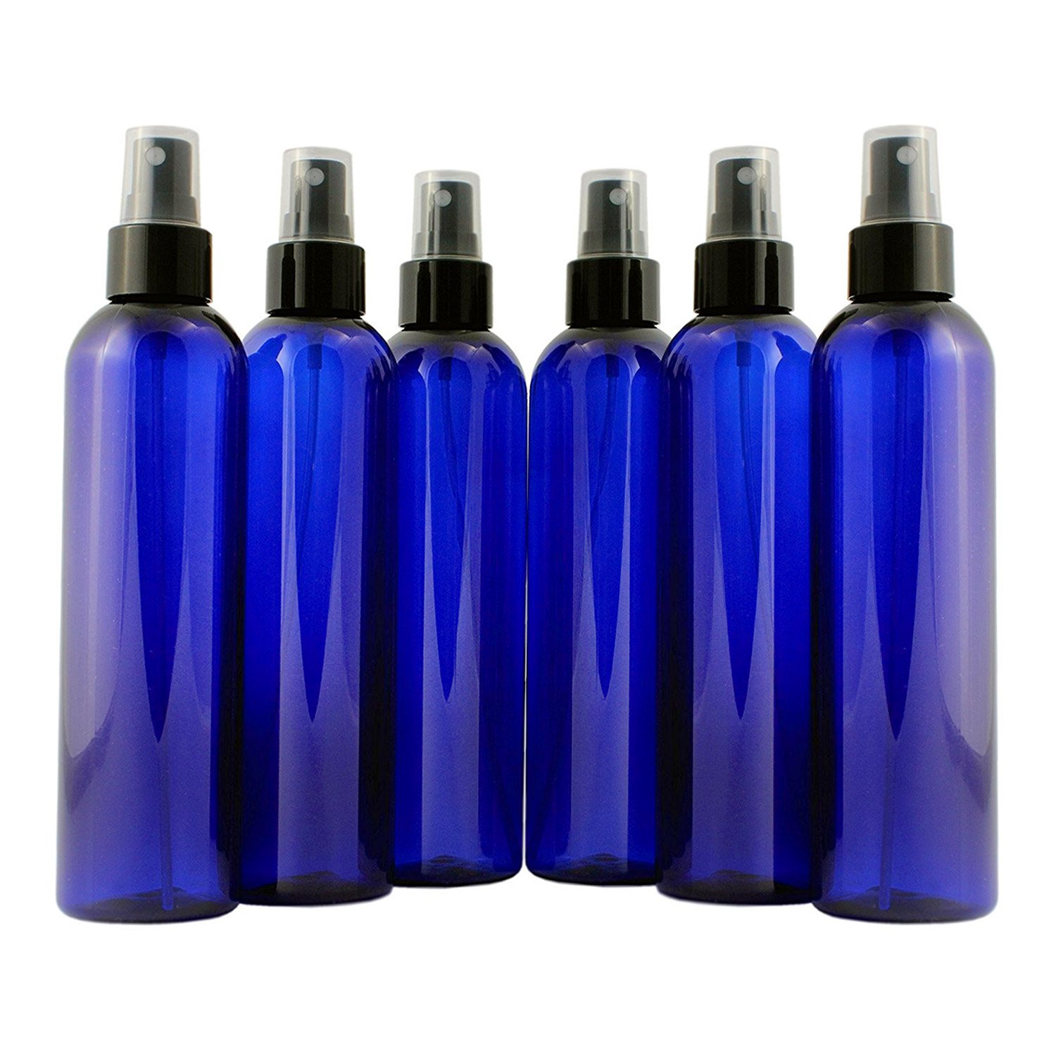 8oz Cobalt Blue Plastic PET Spray Bottles w/Fine Mist Atomizers (6-pack); for DIY Home Cleaning, Aromatherapy, Beauty Care by Cornucopia Brands (Image #6)