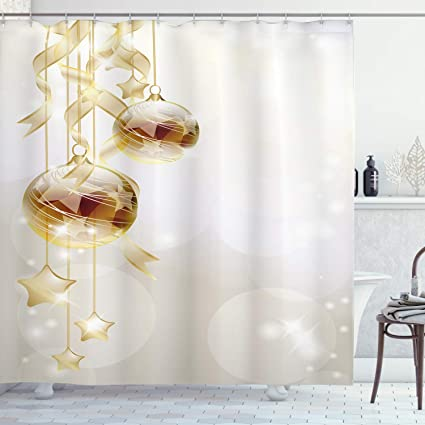 Arredo Bagno Marrone E Beige.Christmas Shower Curtain By Ambesonne Color Oro Palle Di Natale