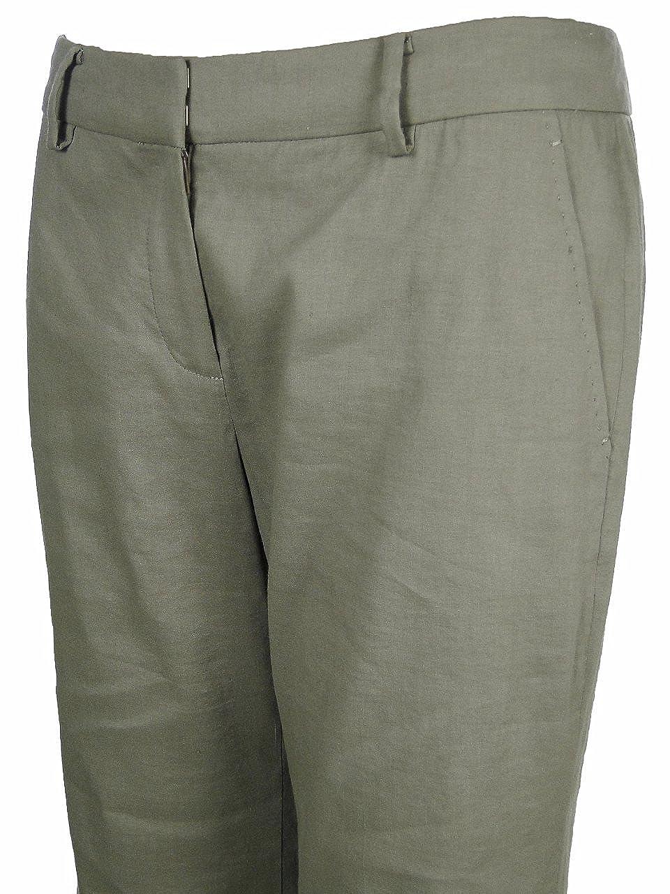Elie Tahari Womens Linen Blend Wide-leg Trouser Pants Mushroom Brown Size 2