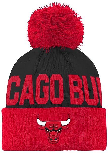 731c5b5e423 ... authentic nba chicago bulls children boys cuffed knit with pom hat 1  size black bc250 9784f