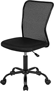 Home Office Chair Mid Back Mesh Desk Chair Armless Computer Chair Ergonomic Task Rolling Swivel Chair Back Support Adjustable Modern Chair with Lumbar Support (Black)