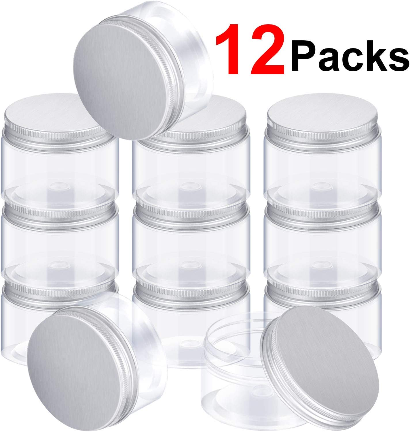DIY Slime Making or Others SATINIOR Empty 12 Pack Clear Plastic Slime Storage Favor Jars Wide-Mouth Plastic Containers with Lids for Beauty Products 2 Ounce