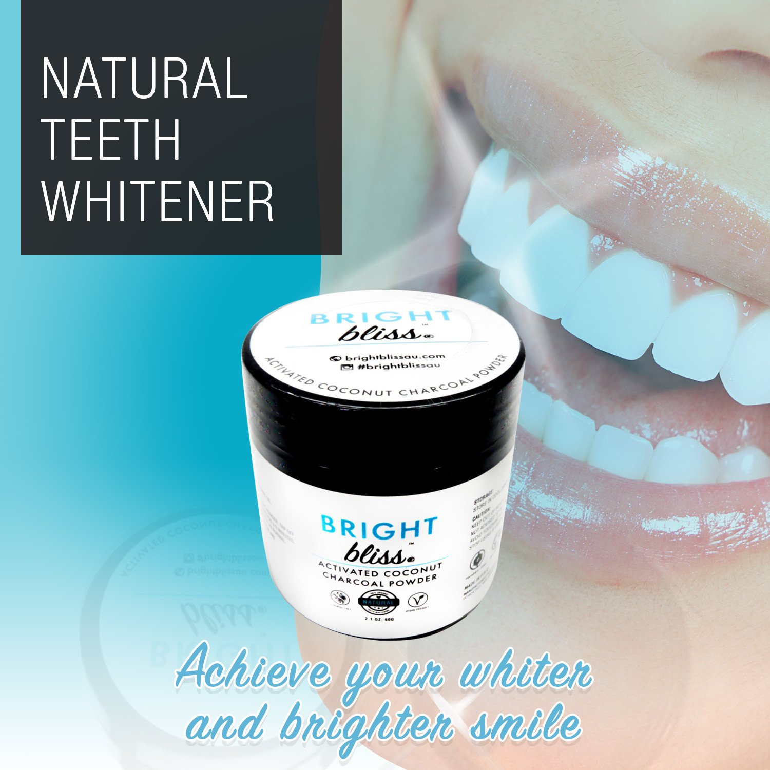 Activated Coconut Charcoal Teeth Whitening Powder - All Natural and Organic 60g