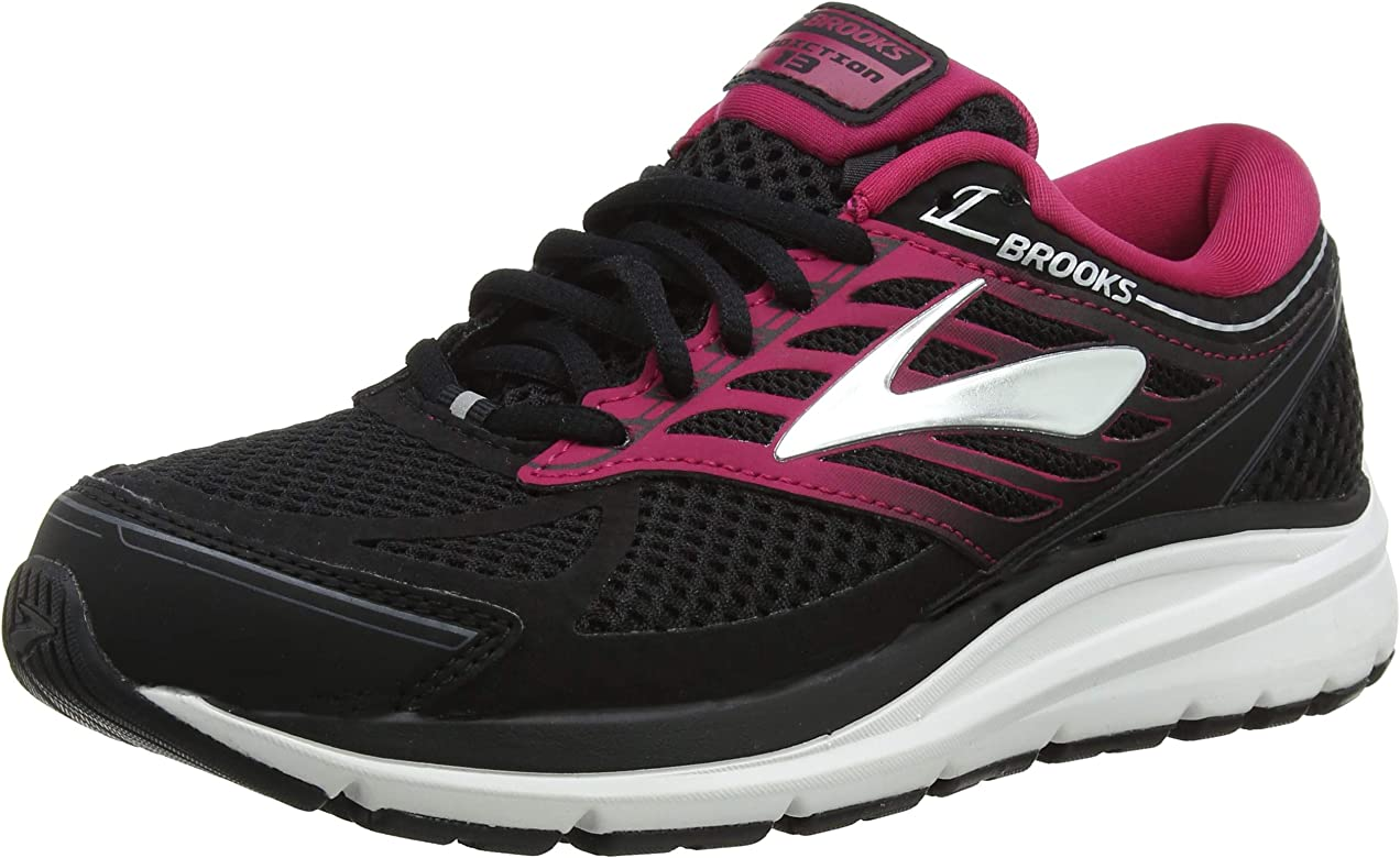DYNAMIC Ladies Womens Sporty Workout Multicoloured Lace Up Trainers Black//Pink