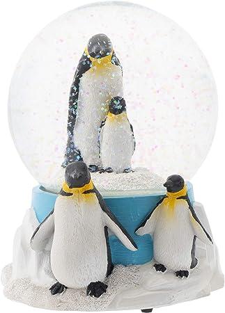Elanze Designs King Penguin Family Musical Water Globe