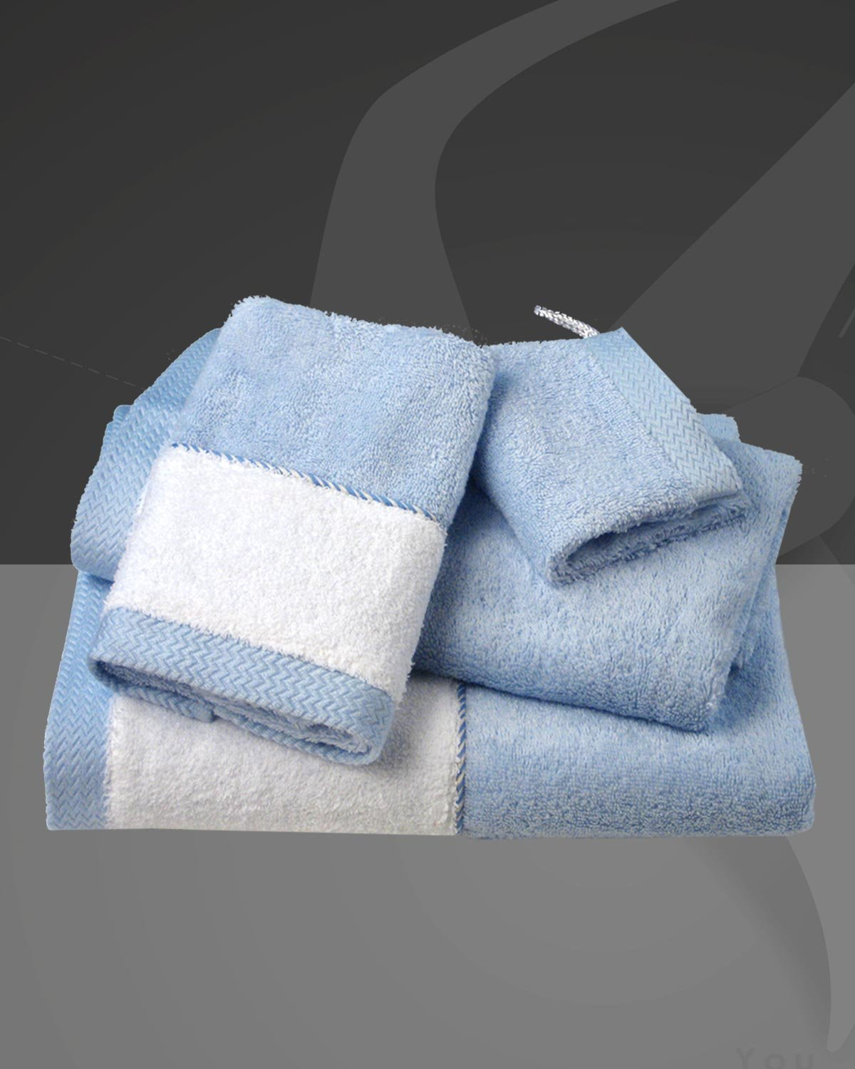 Armani International Théoule Luxury European 4 Piece Toweling Collection Aria Blue- White| Made in Europe