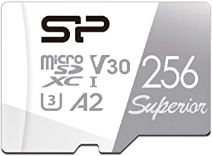 Silicon Power 256GB Superior Micro SDXC UHS-I (U3), V30 4K A2, High Speed MicroSD Card with Adapter