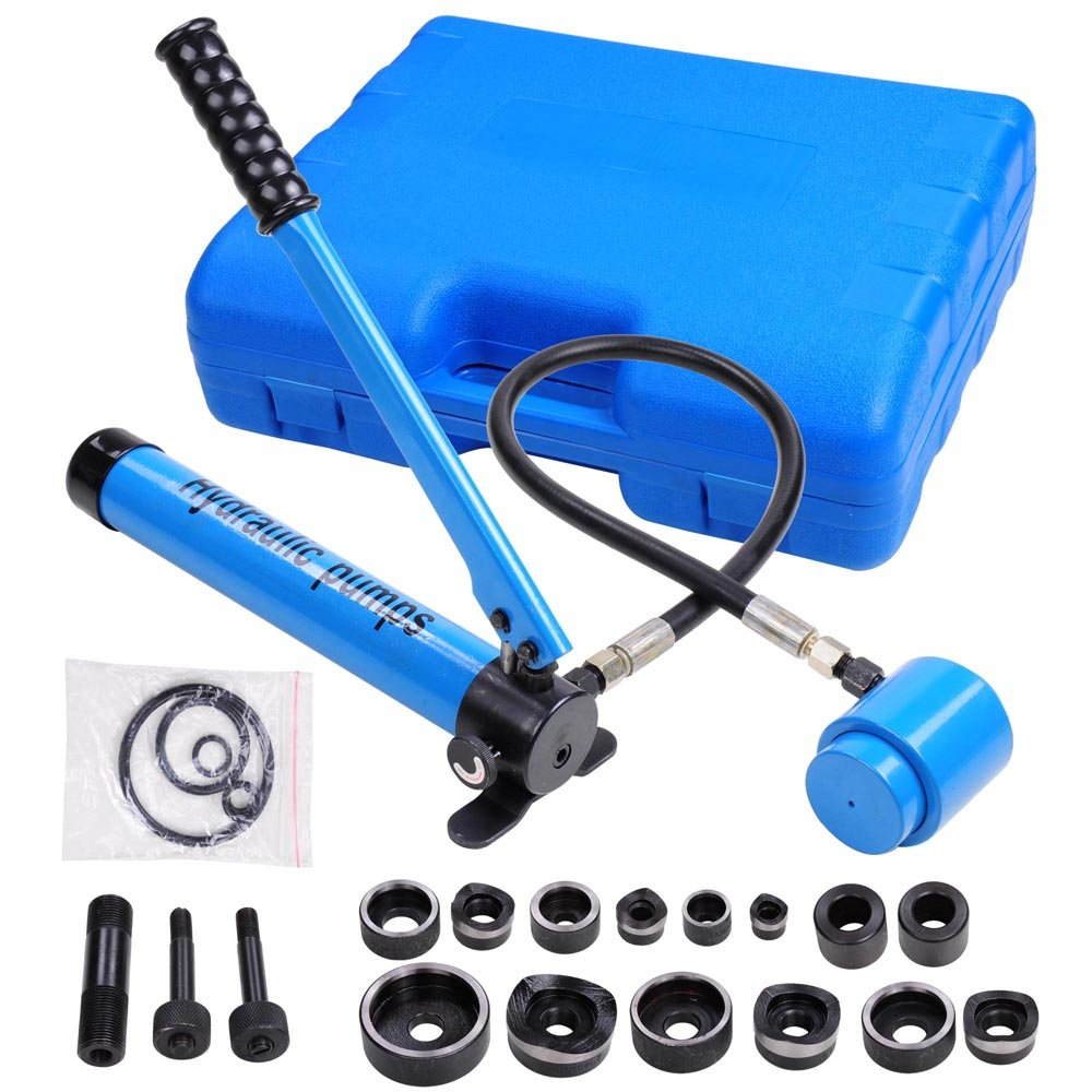 Yescom 9 Ton 6 Dies Hydraulic Knockout Punch Driver Kit Hand Pump Hole Tool with Carrying Case Blue by Yescom