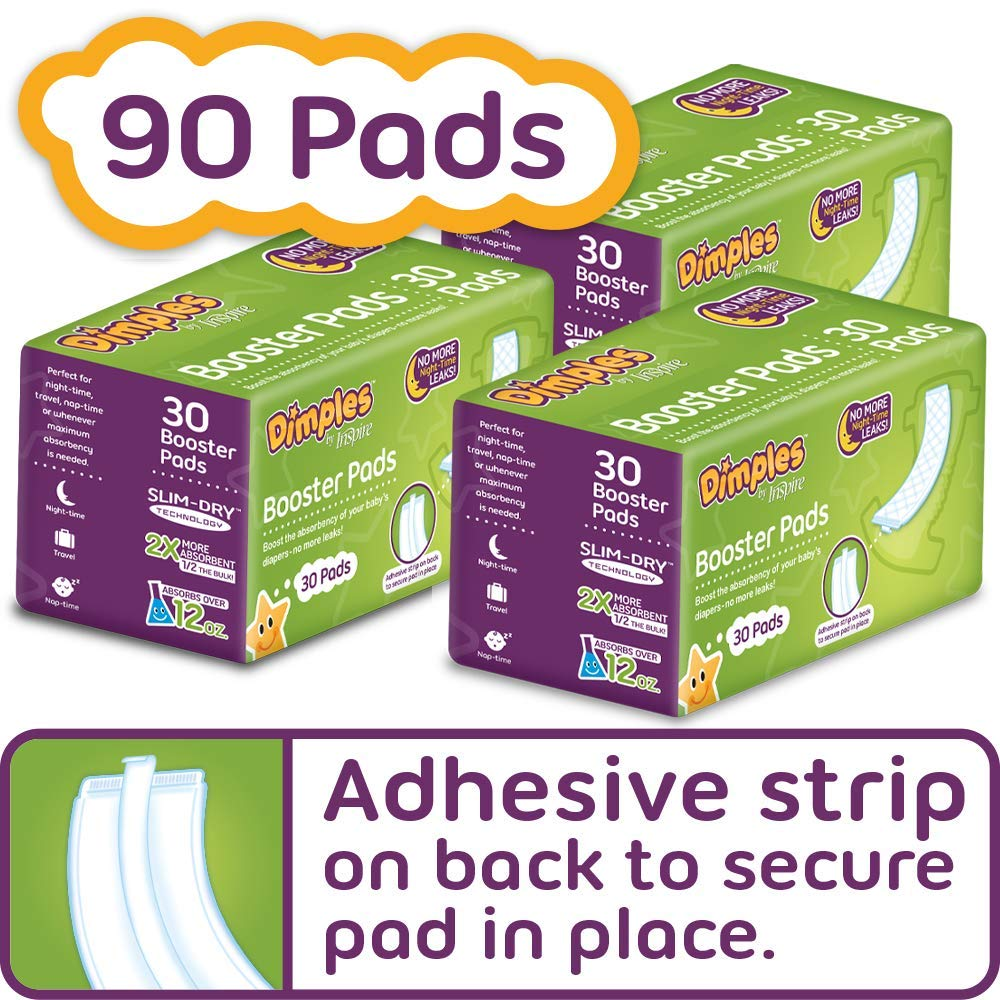 Dimples Booster Pads, Baby Diaper Doubler with Adhesive - Boosts Diaper Absorbency - No More leaks 90 Count (with Adhesive for Secure Fit) by Inspire