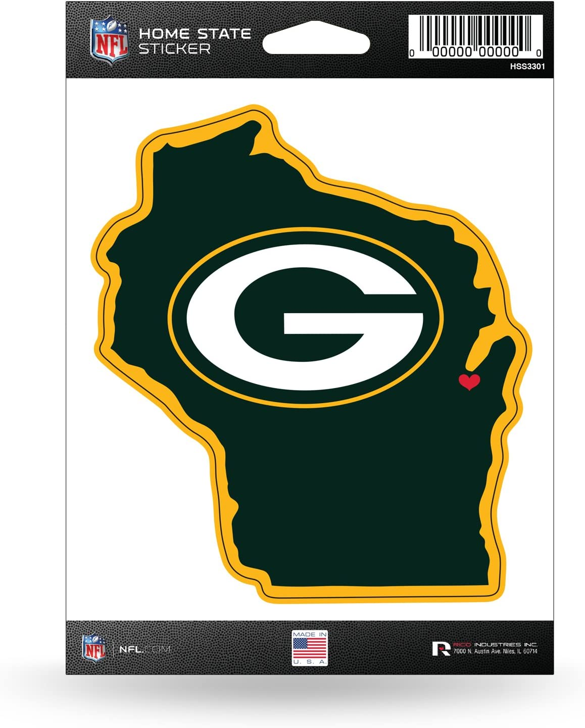 NFL Rico Industries Home State Sticker, Green Bay Packers Team Color, 5.75 x 8-inches
