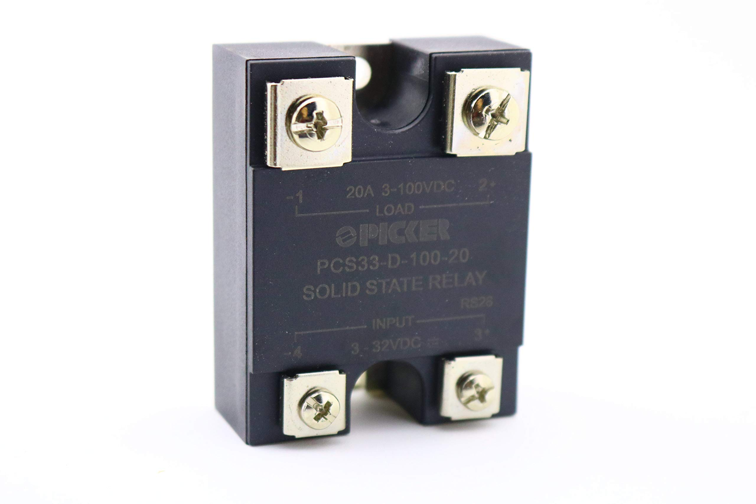 PCS33-D-100-20 | 20 Amp, 0-100 VDC MOSFET DC Output | UL Rated | 3-32 VDC Input | Hockey Puck Solid State Relay | Cross: Crydom D1D20; Crouzet 84134860; Opto22 DC60S-5