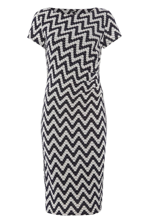 Roman Originals - Women's Side Pleat Chevron Stripe Shift Dress - Smart Office Occasion Party Dresses - Ladies Dresses Navy Blue Sizes 10-20