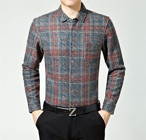 Hombres camiseta caliente _ peluche cálido acolchado Camisa/hombre de solapa, camisa de manga larga, roja, XL: Amazon.es: Deportes y aire libre