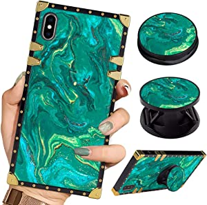 Bitobe Luxury Square Phone Case iPhone Xs Max Green Marble Art Retro Elegant Soft TPU Design Cover for iPhone Xs Max 6.5 inch 2018