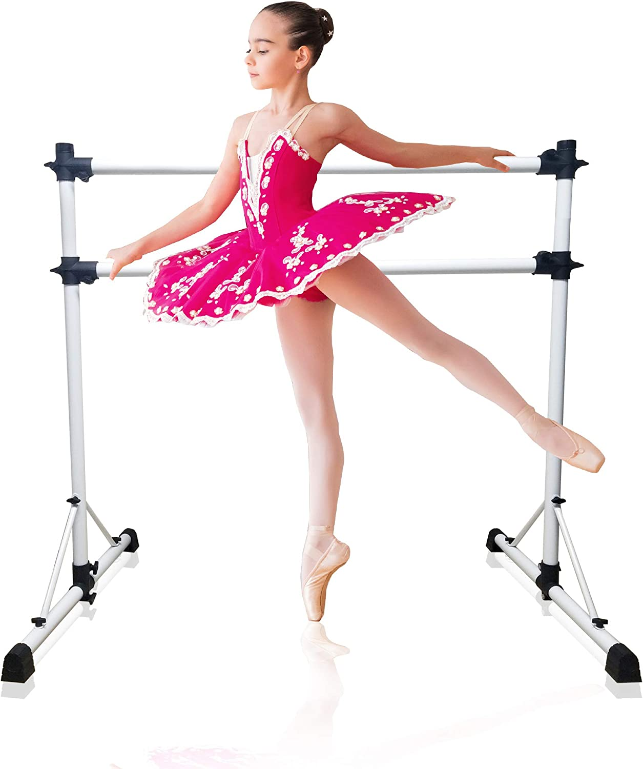 New and Improved 4 Ft Steel Double Ballet Barre with Carry Bag and Beginner Guide, Adjustable and Portable ballet barre for home and gym, Quality Ballet bar anti-wobble, stretching dance bar