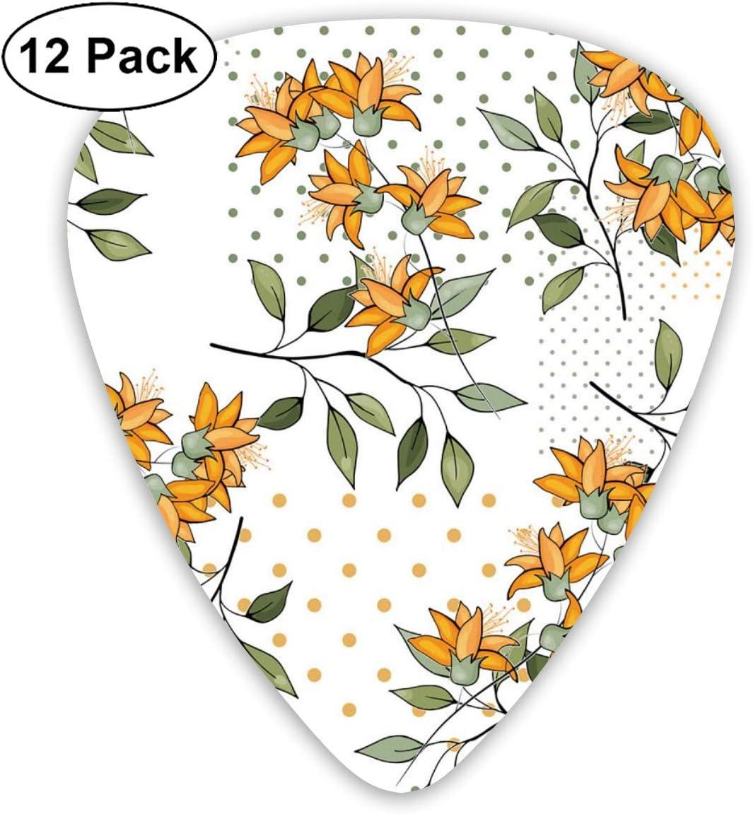 Houity Guitarra Pick Blooming Wild Floral Memphis Print Trendy Polka 12 Piezas Juego de Pala de Guitarra Hecha de Material ABS de protección del Medio Ambiente, Apto para Guitarras, Cuadros, etc.