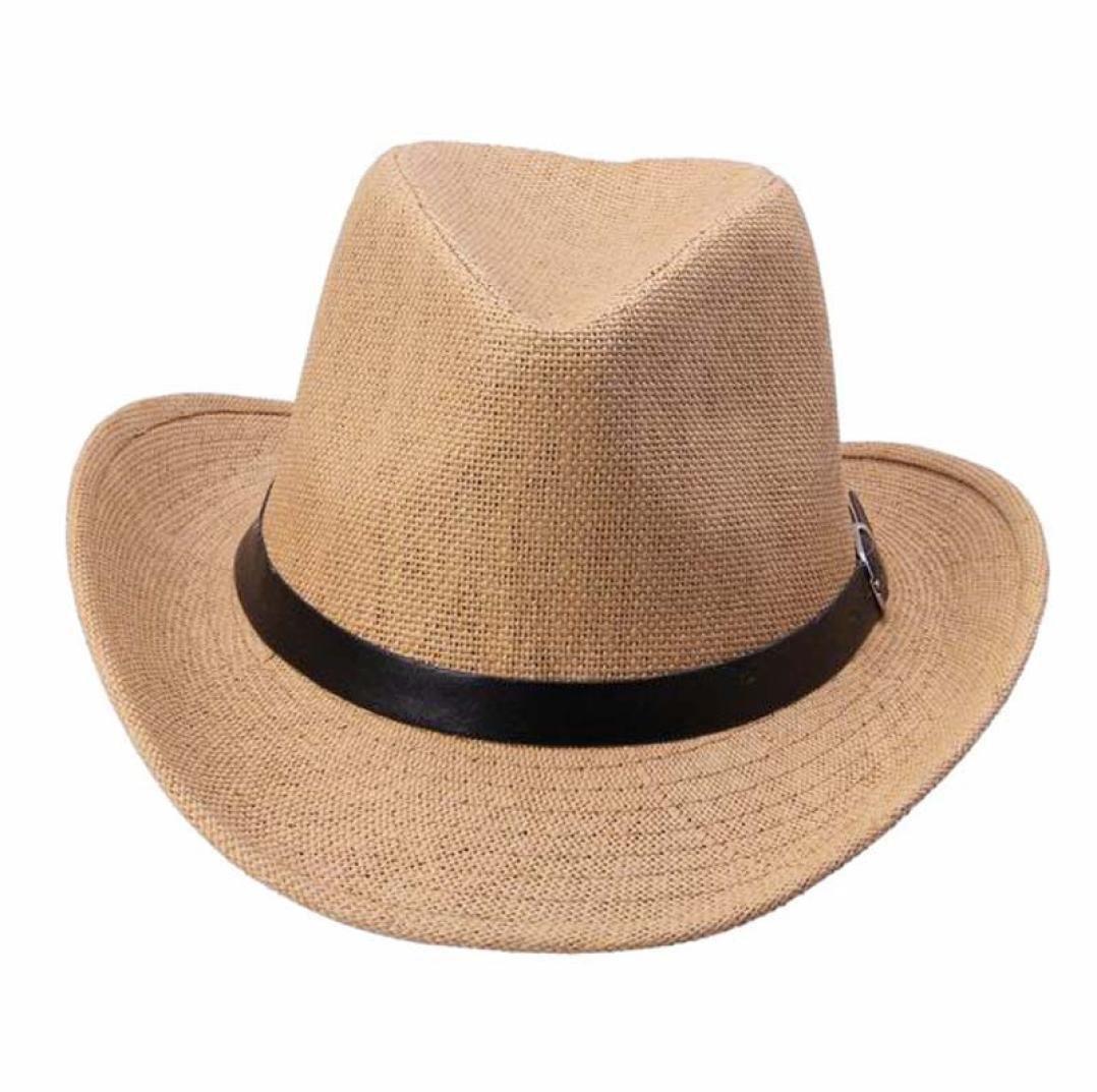 Susenstone Sombrero de vaquero de sombrero verano de paja para hombres (Color  café claro)  Amazon.es  Deportes y aire libre a0ca2391612