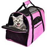 "Pet Cat Carrier Soft Sided Airline Approved Travel Carrier for Cats and Small Dogs Up to 15lbs 18""L x 11""W x 10.5""H"