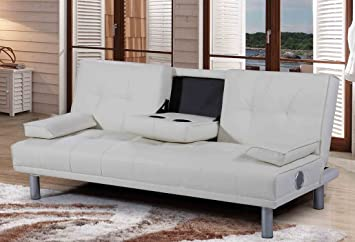 Perfect New Manhattan Modern U0027Sleep Designu0027 Faux Leather Sofa Bed With Bluetooth  Stereo Speakers