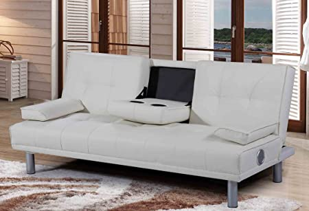 New Manhattan Modern U0027Sleep Designu0027 Faux Leather Sofa Bed With Bluetooth  Stereo Speakers