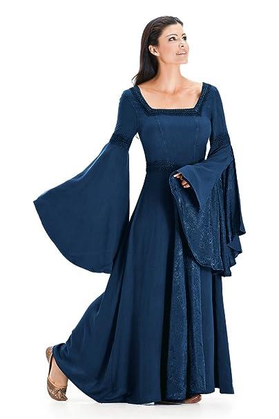 972e044d889 HolyClothing Arwen Square Neck Renaissance Medieval Princess Gown Dress -  Large - Navy Blue