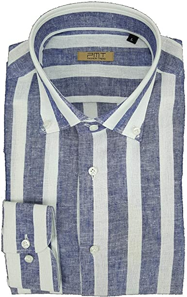 Primate - Camisa de hombre Slim Fit de manga larga a rayas de lino algodón M L XL XXL: Amazon.es: Ropa y accesorios