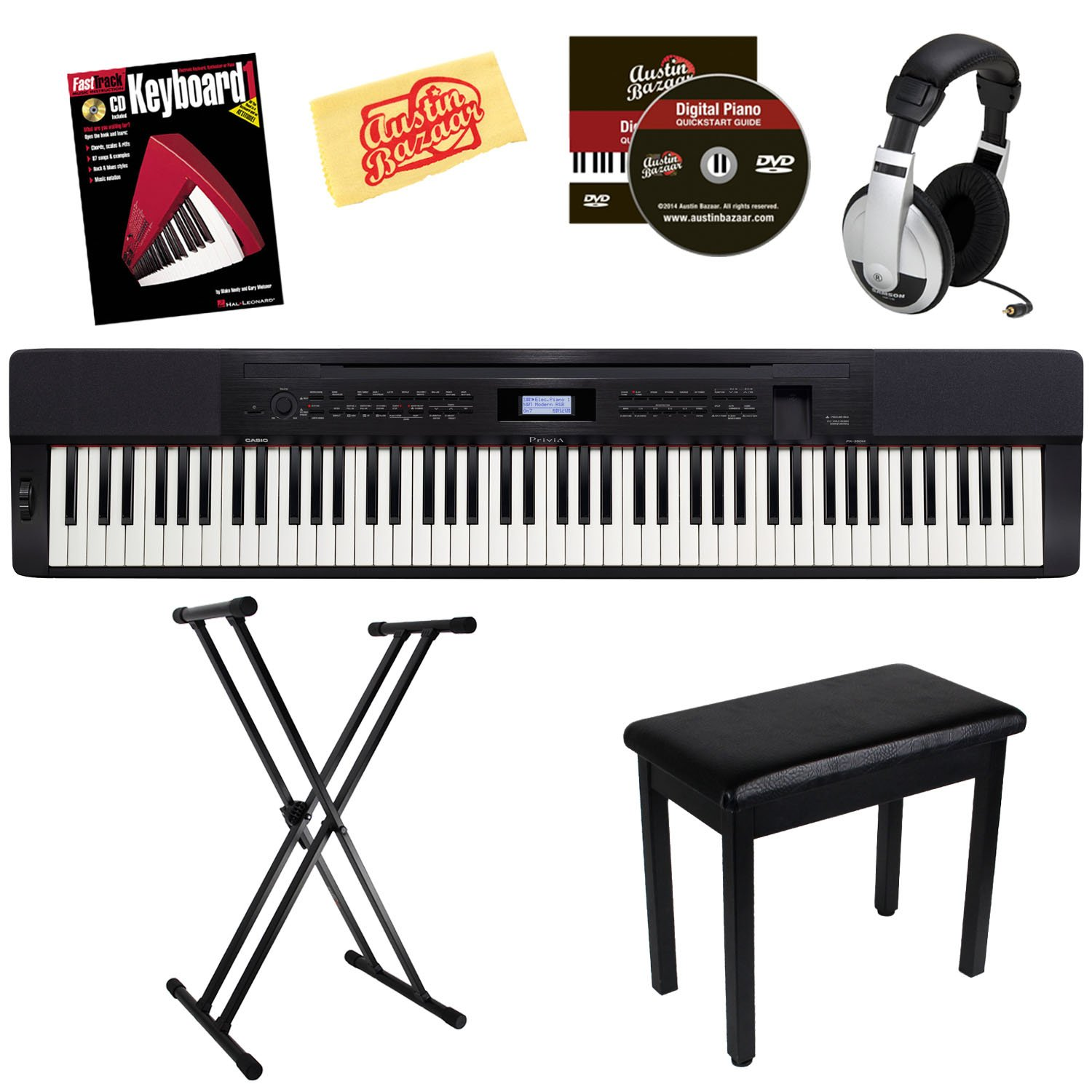 Casio Privia PX-350 88-Key Digital Piano Bundle with Bench, Stand, Headphones, and Instructional Book - Black by Casio