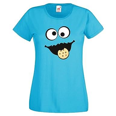 2644afc91528 Keks Monster Damen T-Shirt Gruppen Kostüm Karneval Fasching Verkleidung  Party JGA  Amazon.de  Bekleidung