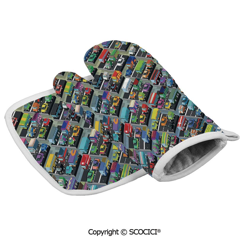 SCOCICI Oven Mitts,Professional Heat Resistant Detailed Collection of Various Vehicles Parked Buses Trucks in Many Colors Non-Slip Kitchen Oven Glove for Cooking,Baking,Barbecue Potholders