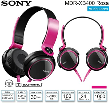 Sony MDR-XB400 XB Series Extra Bass Headphones Pink