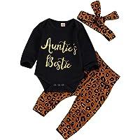 Newborn Baby Girls Leopard Clothes Sets Auntie's Bestie Romper Letter Long Sleeve Jumpsuit+Leopard Pants+Headband Outfit
