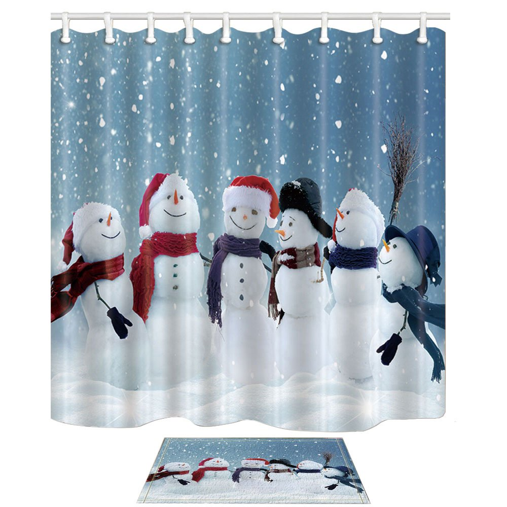 NYMB Xmas Bath Curtain, Snowmen Standing in Winter Christmas Landscape 69X70in Mildew Resistant Polyester Fabric Shower Curtain Set with 15.7x23.6in Flannel Non-Slip Floor Doormat Bath Rugs