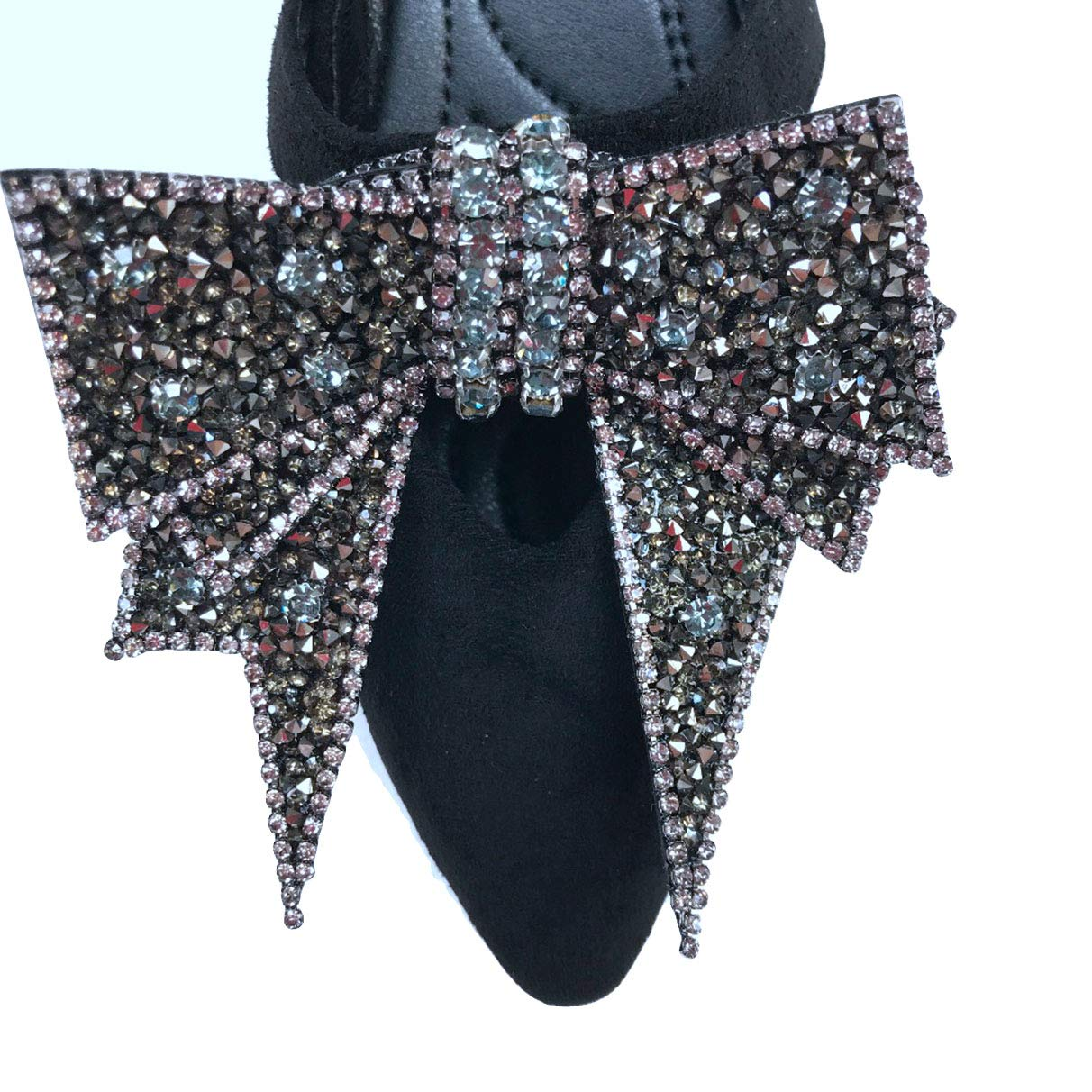 Casual Flock Leather Crystal Bow Tie Rhinestone Dress Shoes Owen Moll Women Flats