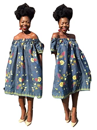 75e25a35aa9 women African floral ankara print off shoulder dress with side pockets  (small)