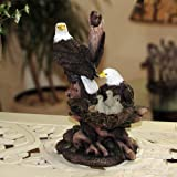 Patriotic American Bald Eagle Family Statue In Rustic Home Decor Sculptures Figurines And Wildlife Bird
