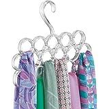 mDesign porta sciarpe salvaspazio - perfetto per tenere in ordine sciarpe e foulard nell'armadio ma anche come portacravatte - 16 anelli - colore: trasparente