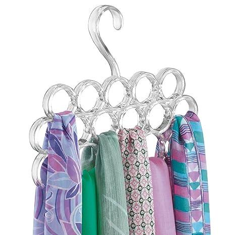 mDesign Percha para pañuelos - Organizador de pañuelos, chales, bufandas y más en su closet - Organizador de armarios para accesorios con 16 prácticos ...