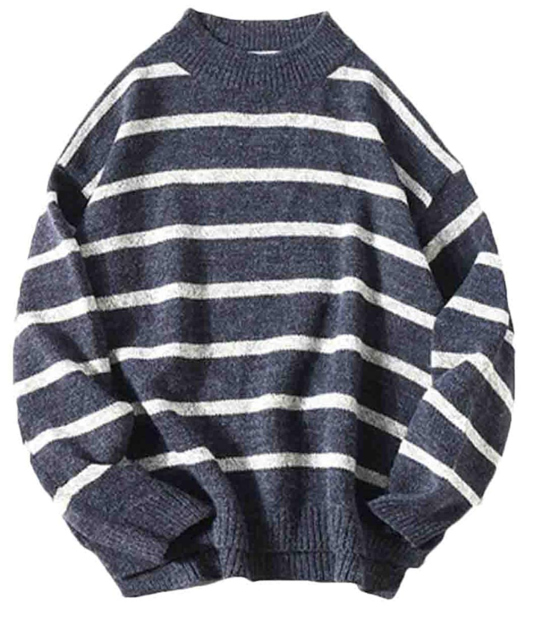 Hurrg Mens Long Sleeve Crew Neck Pullover Knitting Striped Casual Sweater Tops