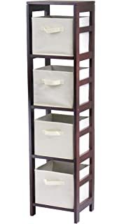 Winsome Wood Capri 4 Section Storage Shelf With Beige Fabric Foldable Baskets