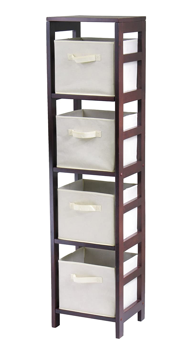 Amazon.com Winsome Wood Leo Wood 4 Tier Storage Shelf with 4 Small Rattan Baskets Kitchen u0026 Dining  sc 1 st  Amazon.com & Amazon.com: Winsome Wood Leo Wood 4 Tier Storage Shelf with 4 Small ...