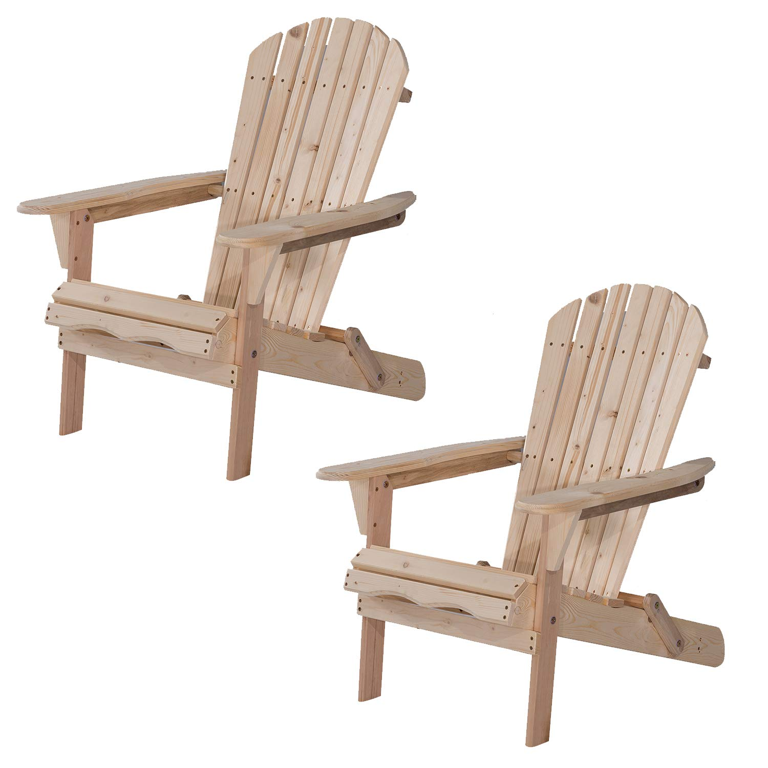 UHOM Outdoor Adirondack Wood Chair Foldable Patio Lawn Garden Furniture Set of 2 by UHOM