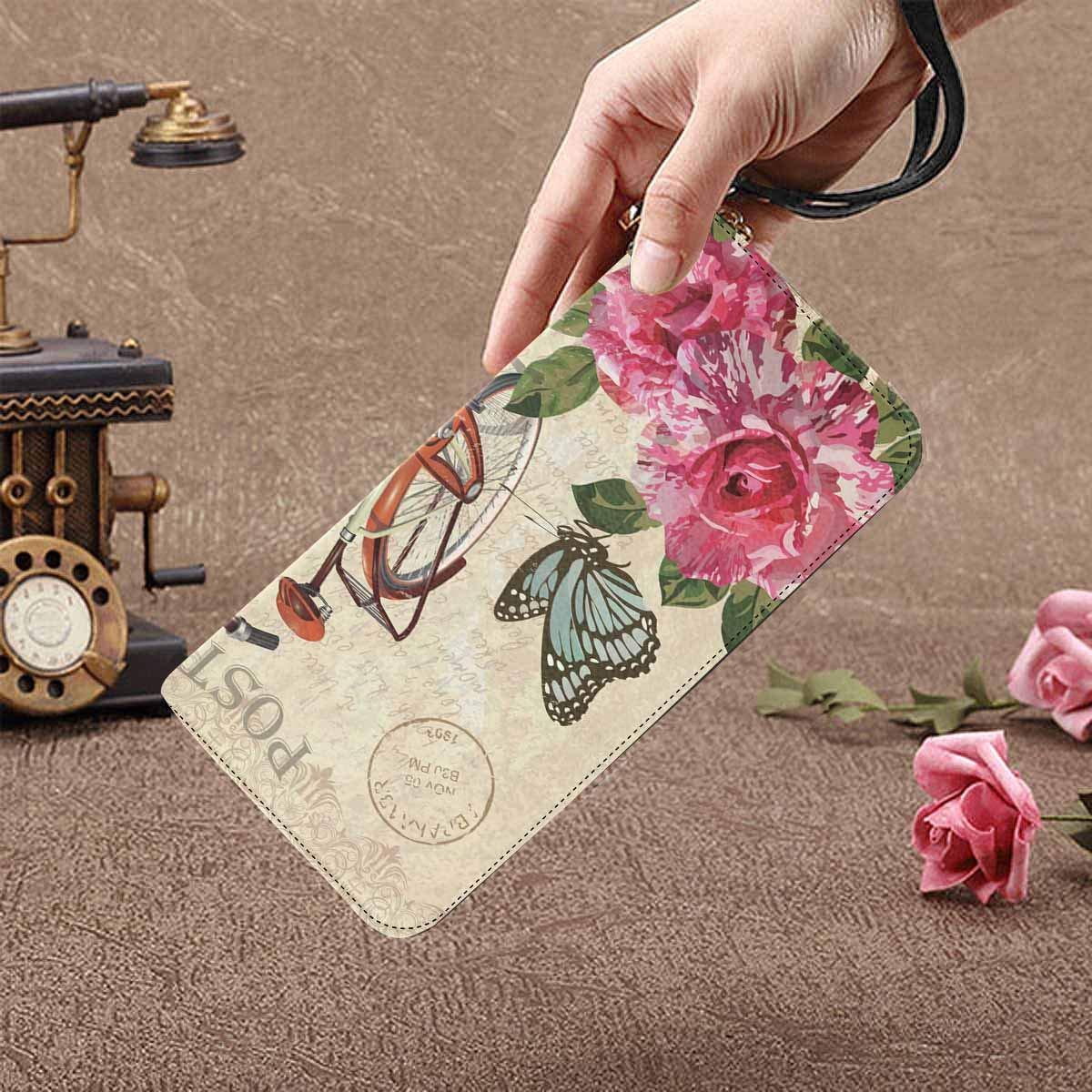 InterestPrint Womens Watercolor Beautiful Bouquet of Roses Flowers Clutch Purse